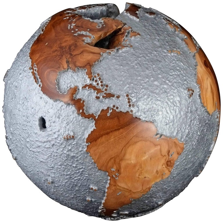 Striking Limited Edition Wooden Globe with Rough Texture Aluminium Finish 25 cm