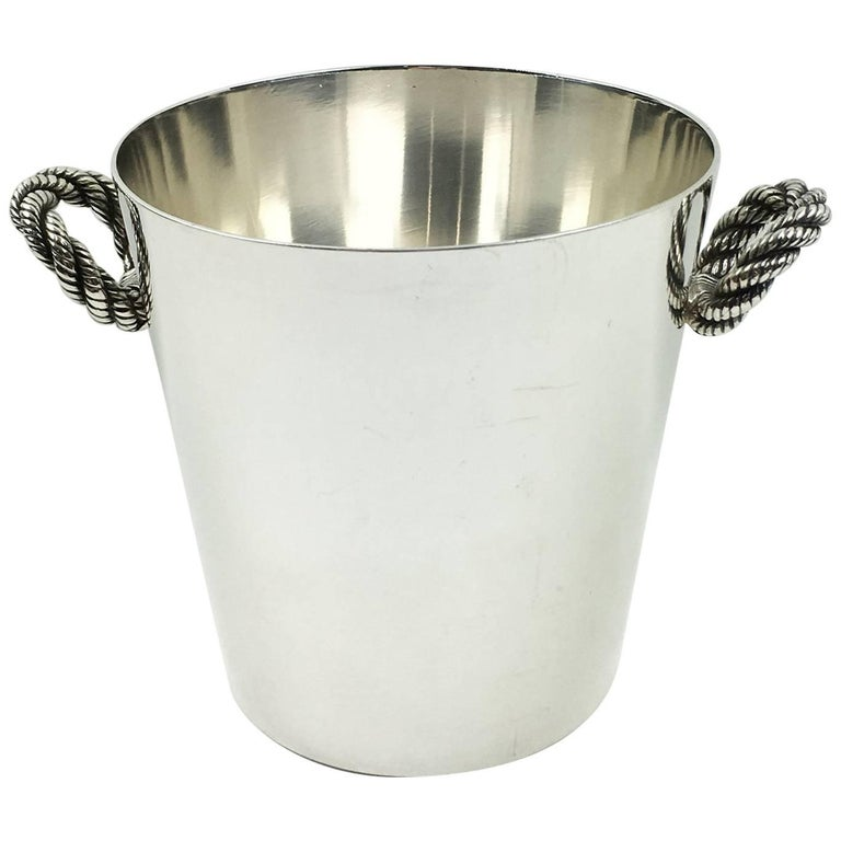 Hermes France Silver Plate Nautical Rope Ice Bucket Bottle Cooler