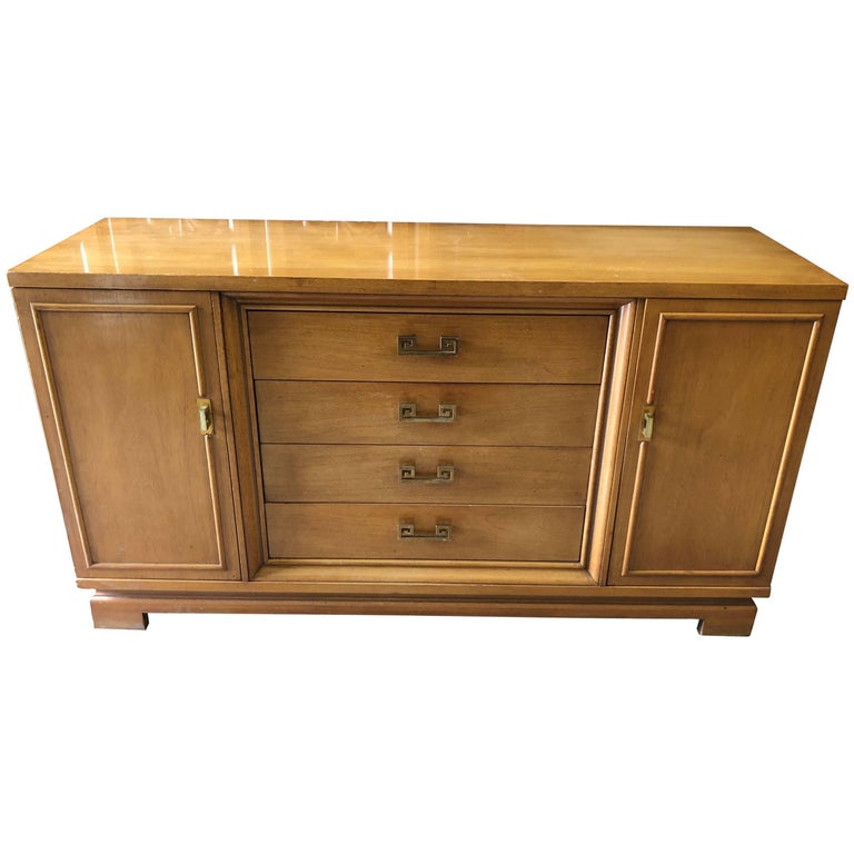 Mid Century Bernhardt Credenza or Dresser with Greek Key Handles For Sale