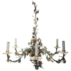 Italian Enamel and Gold Gilt Tole Chandelier
