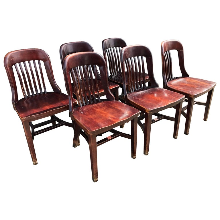 Early 20th Century Jury Chairs from Midwestern Law Legal Courtroom, Set of Six
