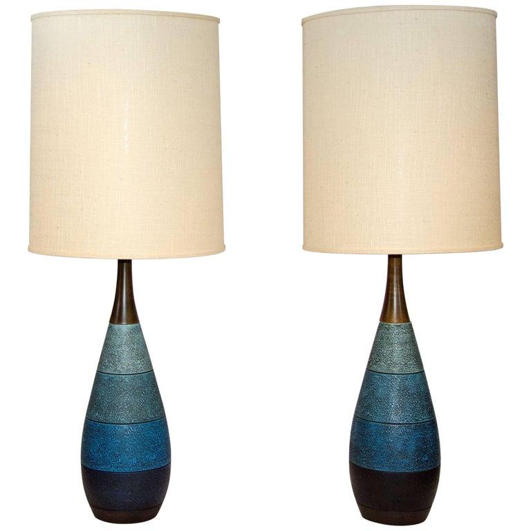 Pair of Midcentury Blue Ceramic Lamps, London Lamps