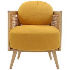 Nada Debs Summerland Armchair, Ashwood, Straw, Fabric, Midcentury Design