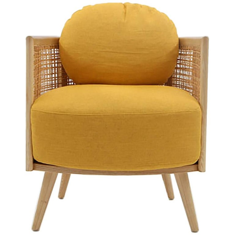 Nada Debs Summerland Armchair, Ashwood, Straw, Fabric, Midcentury Design