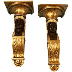 Pair of French Empire Egyptian Motif Wall Brackets