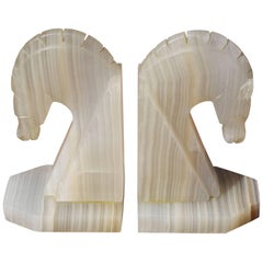 Carved Onyx Horse Head Bookends