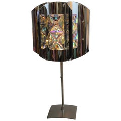 Midcentury Chrome Lamp with Iridescent Crystals