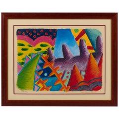 Colorful Pastel on Paper by Pedro Octavio Elizondo, 1980s