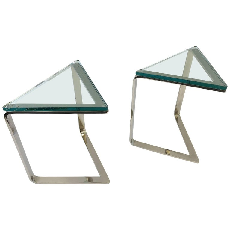 Pair of Polish Nickel and Glass Triangular Shape Side Tables