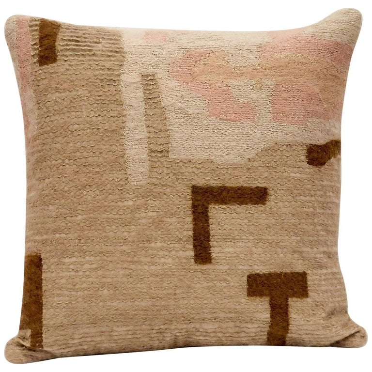 Handcrafted Embroidered Pillow Dusty Pink, Blush and Beige Wool Yarn