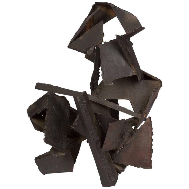 Brutalist Style Abstract Metal Sculpture