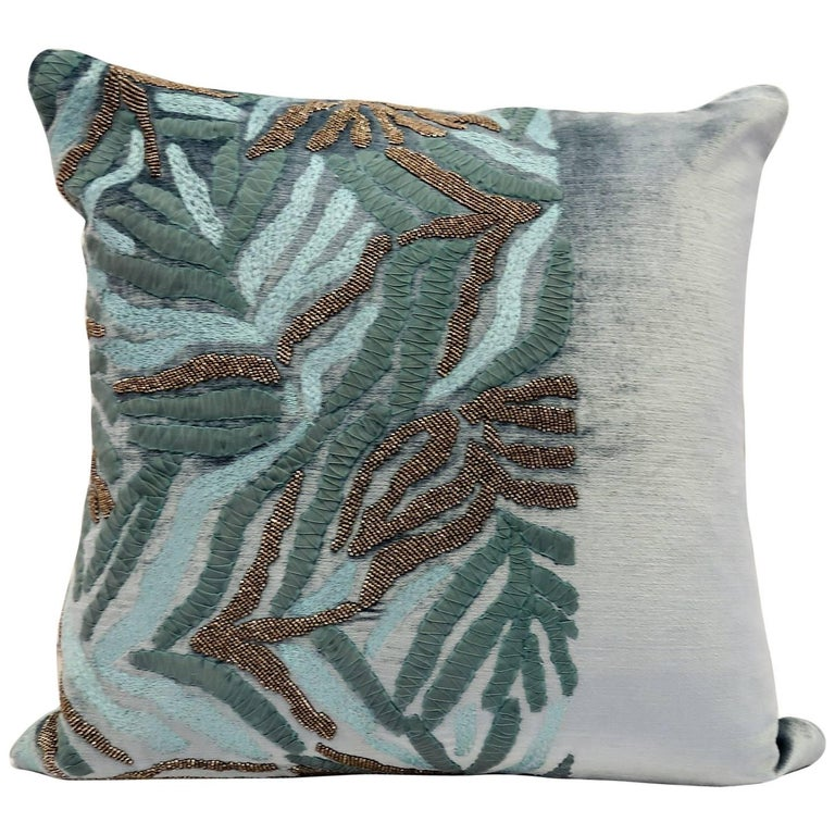 Handcrafted Velvet Pillow Hand Embroidered Abstract Aqua Foliage Design For Sale