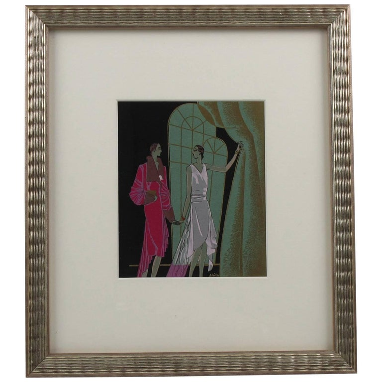 Original French Art Deco J. Hilly Ink and Gouache Illustration Drawing