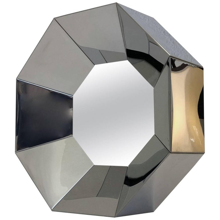 Octagonal Shape Chrome Mirror by Curtis Jere