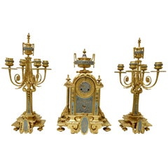 French 19th Century Bronze and Champlevé Enamel Clock Set