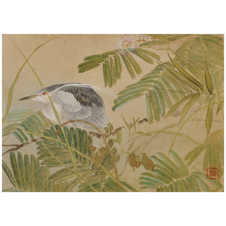 Ishizaki Koyo Mimosa and Night Heron, Japanese Silk Painting