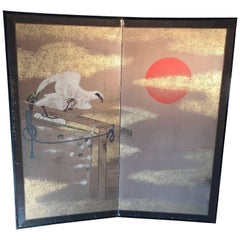 "Japanese Samurai ""Prized Hunting Bird and Golden Sun"" Fine Two Panel Screen"