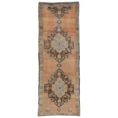 Vintage Turkish Oushak Runner with French Country Style, Hallway Runner