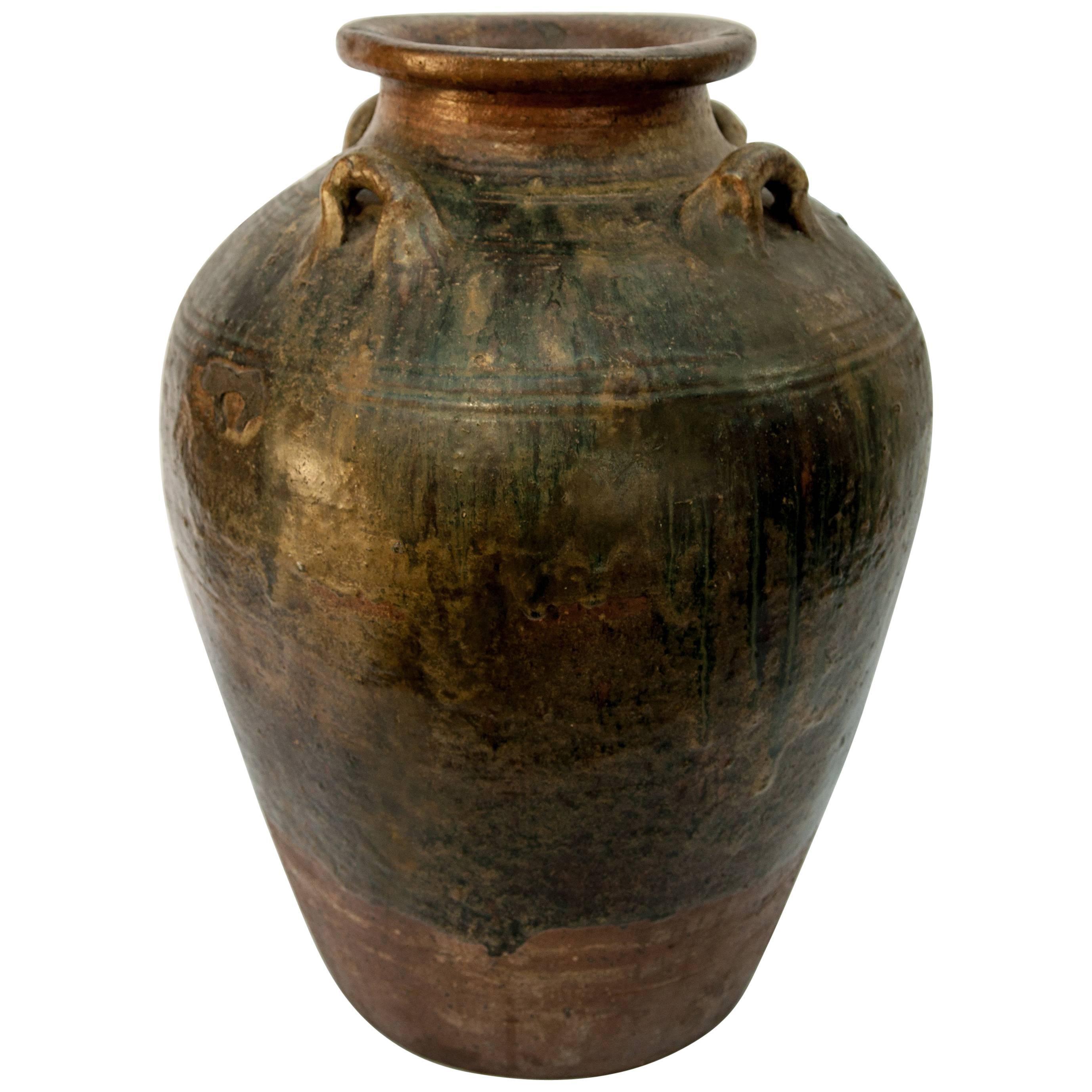 Martaban Ware Stoneware Storage Jar, Running Glaze, Ming Dynasty, Found in Laos