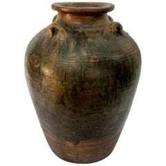 Martaban Ware Stoneware Storage Jar, Running Glaze, Ming Dynasty, Found in Laos