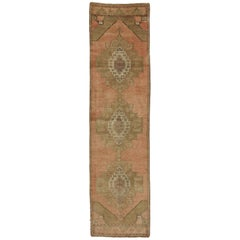 Vintage Turkish Oushak Runner, Hallway Runner with Tribal Style, Soft Colors