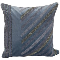 Handcrafted Embroidered Blue Velvet Pillow Cross Stitched Beaded Ribbonwork