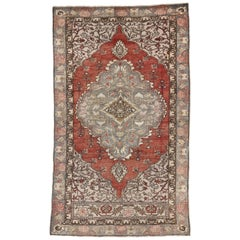Vintage Turkish Oushak Hall Accent, Foyer or Entry Rug with French Country Style
