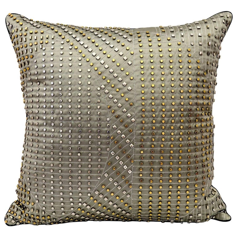 Handcrafted Embroidered Pillow Silver and Gold Metallic on Charcoal Satin