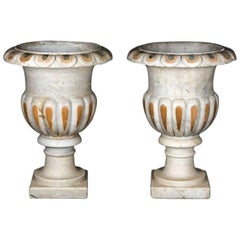 Pair of Hand-Carved Classical Italian Style Inlaid Macael Marble Planters