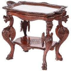Unusual Antique Carved Oak Italian Centre Table