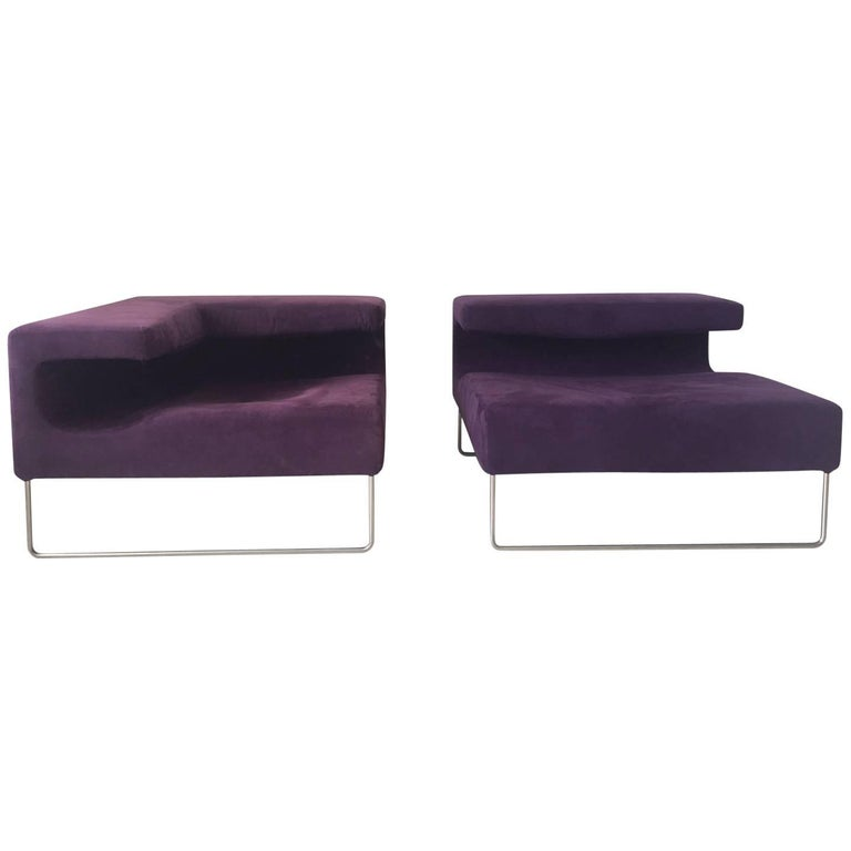 Minimalistic Purple Suede Chairs by Patricia Urquiola for Moroso