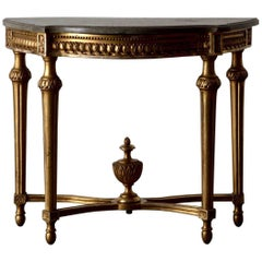 Console Table Swedish Gustavian Gilded Stone Top Neoclassical, Sweden