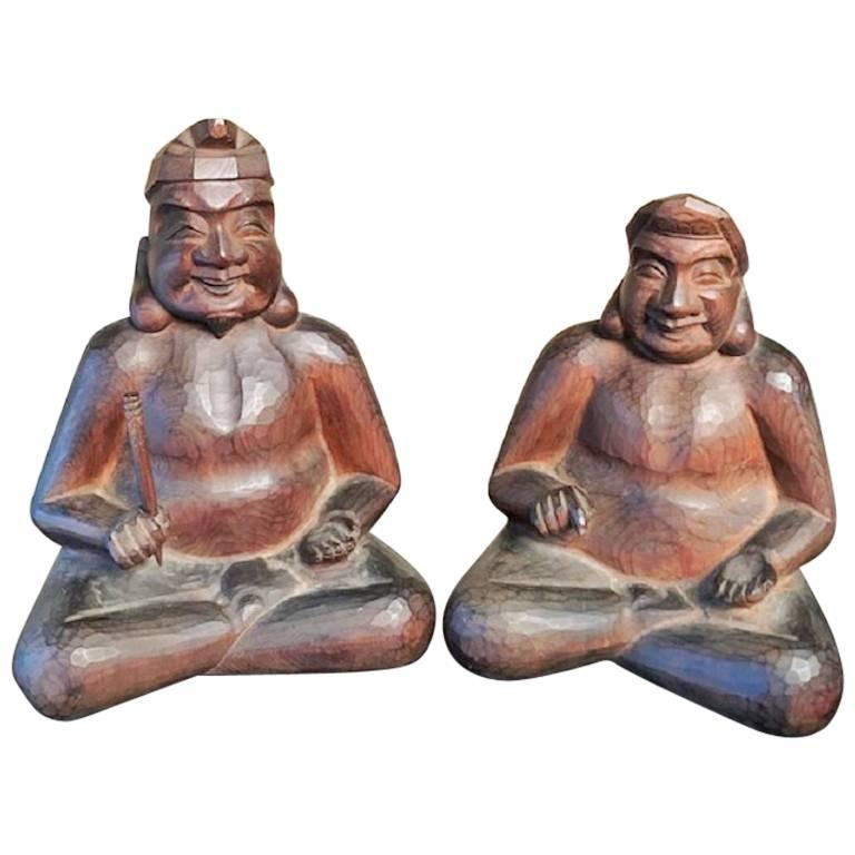 Japanese Gods Prosperity and Business Finely Sculpted Antique Hand-Carved, Pair For Sale