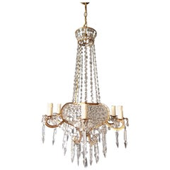 Antique, 1900s Chandelier Crystal Lustre Brass Ceiling Lamp Rarity Neoclassical