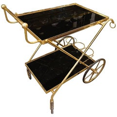Brass and Opaque Black Glass Serving Trolley