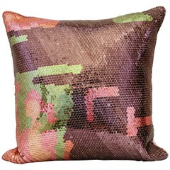 Hand Crafted Embroidered Pillow Sequinned Abstract Design