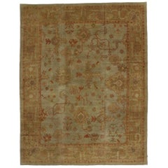 Contemporary Turkish Oushak Area Rug with Rustic Arts & Crafts Style