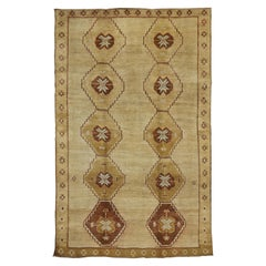 Vintage Kurdish Kars Rug with Mid-Century Modern Style and Warm, Neutral Colors