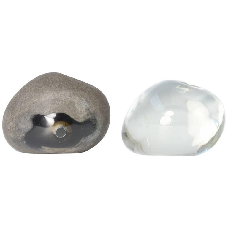 Pair of Optical Glass Stones by Alfredo Barbini