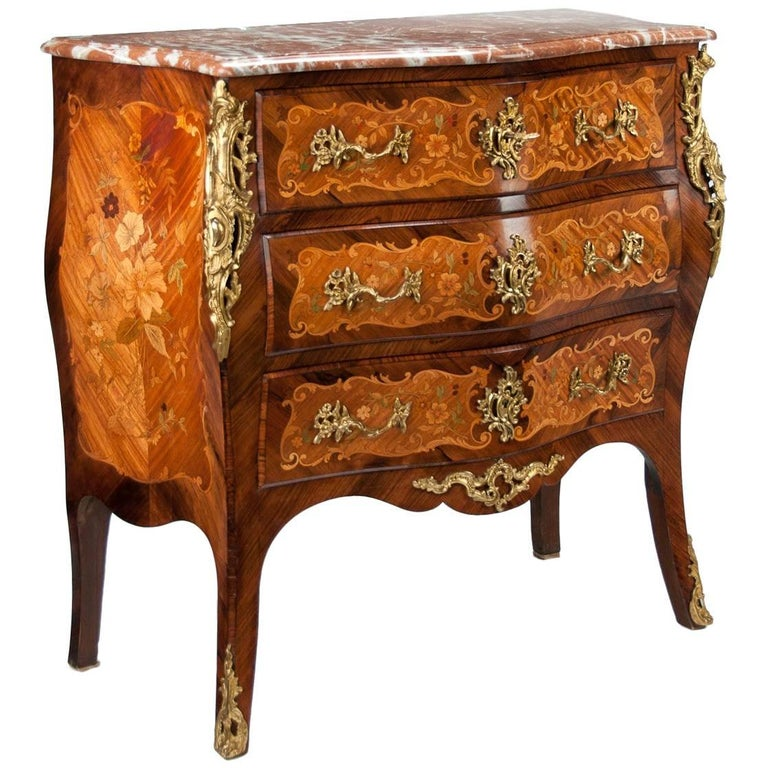 Fine French Louis XV Style Inlaid Bombe Marble Topped Commode For Sale