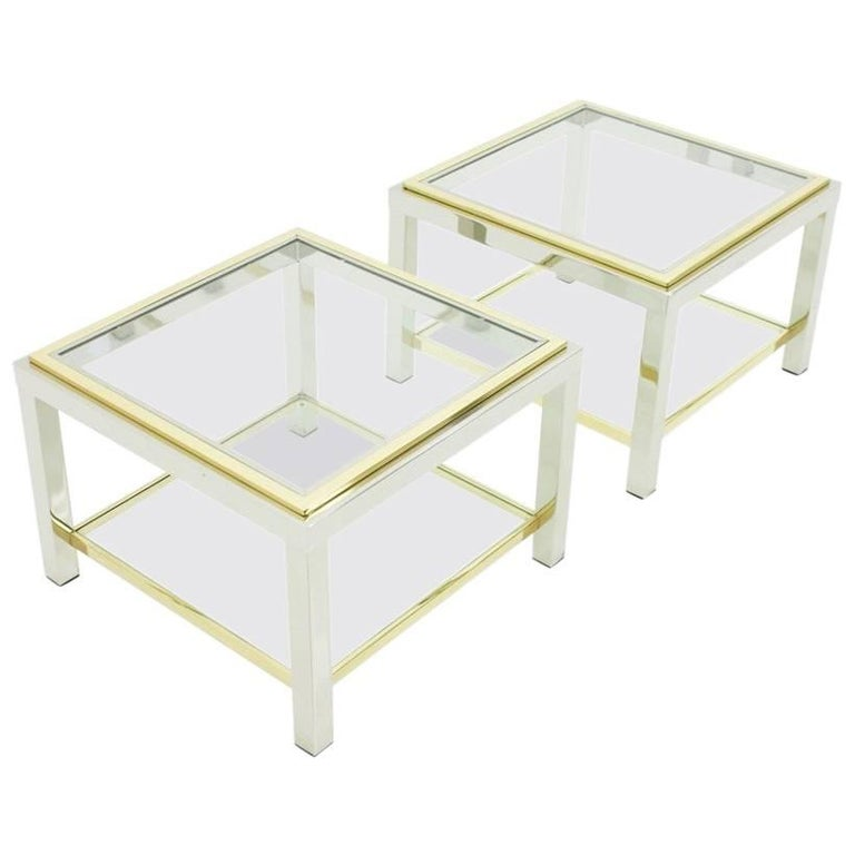 Pair of Chrome, Glass and Brass Side Tables, 1970s