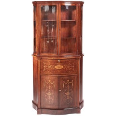 Fine Antique Mahogany Inlaid Serpentine Shaped Secretaire Bookcase or Cabinet