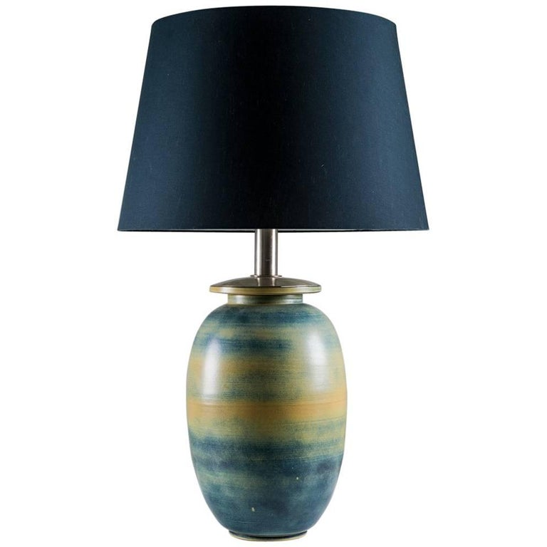 Extra Large Ceramic Swedish Midcentury Table Lamp by Gunnar Nylund
