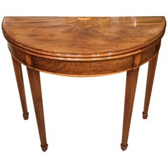 Good Mahogany George III Period Demilune Card Table