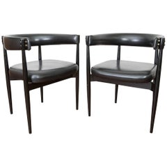 Set of Two Italian Lacquered Wood and Faux Leather Chairs by Fratelli Reguitti