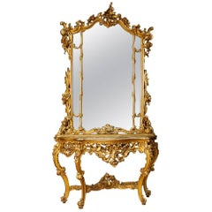 Italian Gilt Console with Mirror in Wood with Marble Top in Louis XV Style