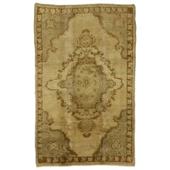 Vintage Turkish Oushak Rug with Warm Russian Dachas Luxe Home Style