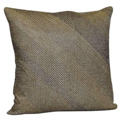 Handcrafted Embroidered Pillows Glass Beads Geometric Diagonal Grids Gold Silver