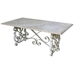 Early 20th Century Wrought Iron and Travertine Garden Table