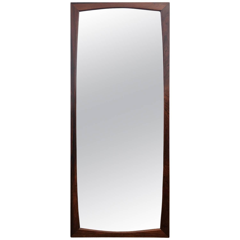 Solid Rosewood Danish Midcentury Wall Mirror by Aksel Kjersgaard